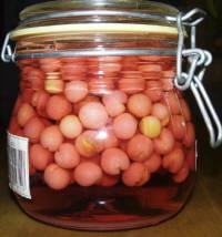 色鮮やかなユスラウメの果実酒